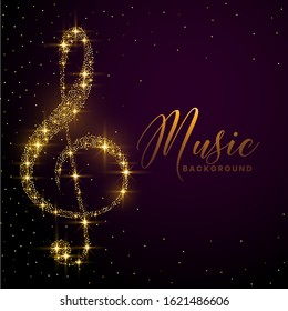 clef note made with golden sparkle background design
