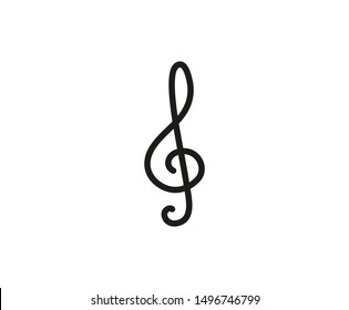 Clef treble icon vector illustration. Editable stroke. Flat design style