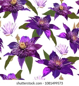 Clematis purple flowers and leaves. Seamless vector patern with isolated colorful plants. floral background