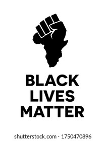 Clenched Fist With Africa continent symbol. Black Lives Matter poster