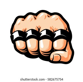 Clenched fist, brass knuckles. Gangster, thug, bandit symbol. Cartoon vector illustration