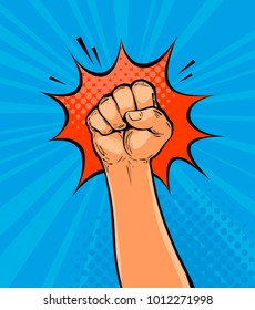 Clenched fist drawn in pop art retro comic style. Cartoon vector illustration