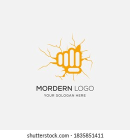 Clenched fist Gym logo or label. Vector illustration