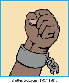 A clenched fist hand raised in the air. Power of Liberty, concept with USA flag background. art. broken chains. Anti Slavery campaign. Freedom day.