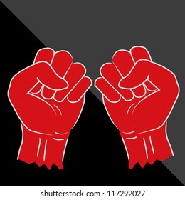 Clenched fist hand vector. Victory, revolt concept. Revolution, solidarity, punch, strong, strike, change illustration on black background