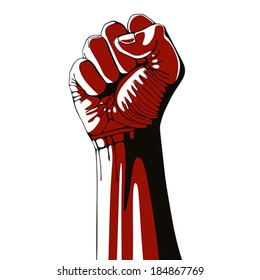 Clenched fist held high in protest isolated on white background, vector illustration.