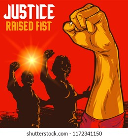 Clenched Fist Propaganda Illustration. Men and Women raised fist. Protest fist. Retro revolution poster design elements.