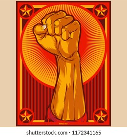 Clenched Fist Propaganda Poster Illustration. Protest fist. Raised fist revolution design elements.
