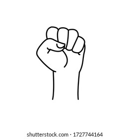 Clenched fist. Fist of protest symbol. Logo hand