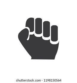 Clenched fist vector icon. Power,hand symbol flat vector sign isolated on white background. Simple vector illustration for graphic and web design.
