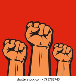 Clenched fists raised in protest. Three human hands raised in the air. Vector illustration isolated on red background.