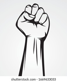 clenched hands to show strength and fighting spirit vector illustration in black and white