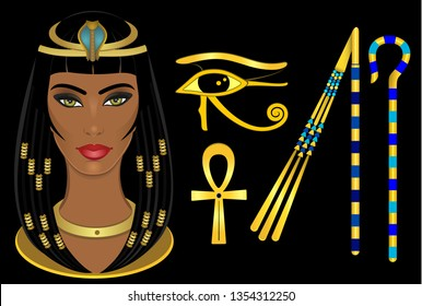 Cleopatra Egypt queen, Horus eye, Ankh, Crook and Flail
