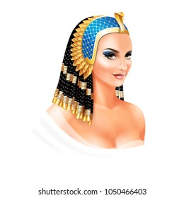 Cleopatra Egyptian Queen isolated on white background