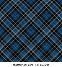 Clergy Blue Tartan. Tartan imitation for prints on fabric and clothing, interior decoration, Scottish-style websites. Diagonal cell.  Seamless pattern. Frequent weave
