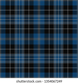 Clergy Blue Tartan. Tartan imitation for prints on fabric and clothing, interior decoration, Scottish-style websites. Seamless pattern. Frequent weave