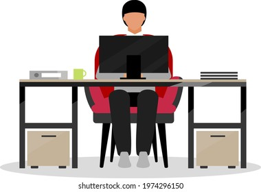 Clerical employee flat color vector faceless character. Performing office tasks. Clerical workstation. Rookie, newbie in workplace isolated cartoon illustration for web graphic design and animation