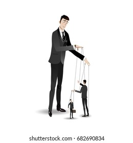 The clerk in cartoon style pulls the thread like a puppet of another clerk's figure, he does the same with the figure of another clerk
