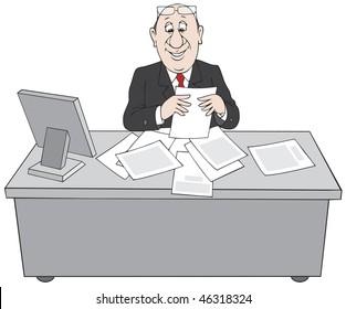 Clerk at paperwork