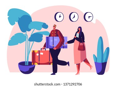 Clerk in Uniform Meeting Woman in Hotel Lobby Helping to Carry Baggage. Hospitality Service, Tourist at Reception Arrive and Booking Room. Visitor, Guest Accommodation Cartoon Flat Vector Illustration