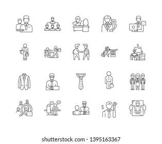 Clerks line icons, signs, vector set, outline illustration concept