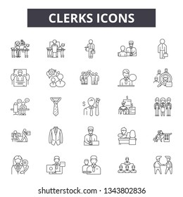 Clerks line icons for web and mobile design. Editable stroke signs. Clerks  outline concept illustrations