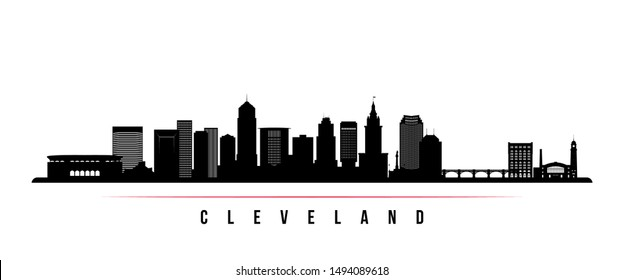 Cleveland City skyline horizontal banner. Black and white silhouette of Cleveland City, Ohio. Vector template for your design.
