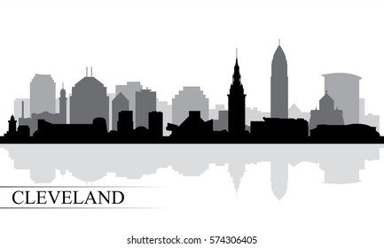 Cleveland city skyline silhouette background, vector illustration