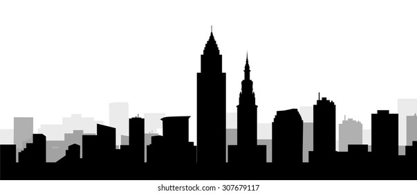 Cleveland Morning City Skyline