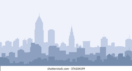 Cleveland Morning City Skyline - Vector