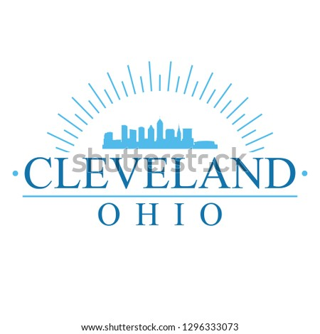 Cleveland Ohio Banner Design City Skyline Stock Vector (Royalty Free