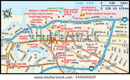 Downtown Cleveland Map Cleveland Ohio Downtown Map Stock Vector (Royalty Free) 144049609  Downtown Cleveland Map