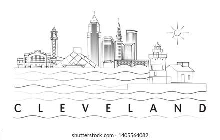 Cleveland, Ohio skyline minimal vector illustration and typography design
