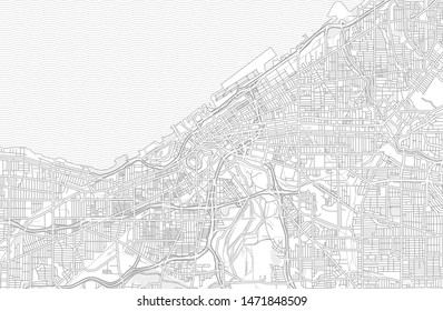 Cleveland, Ohio, USA, bright outlined vector map with bigger and minor roads and steets created for infographic backgrounds.