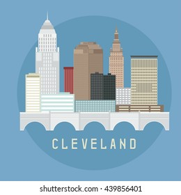 Cleveland Ohio Usa flat design vector illustration of skyline