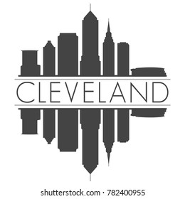 Cleveland Ohio USA Skyline Vector Art Mirror Silhouette Emblematic Buildings