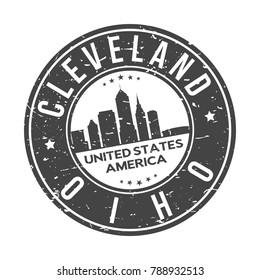 Cleveland Ohio USA Stamp Logo Icon Symbol Design Skyline City