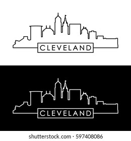 Cleveland skyline. Black linear style. Editable vector file.