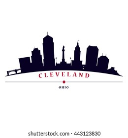 Cleveland skyline in black and white background in editable vector file.
