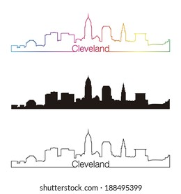Cleveland skyline linear style with rainbow in editable vector file