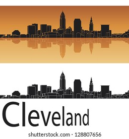 Cleveland skyline in orange background in editable vector file