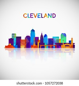 Cleveland skyline silhouette in colorful geometric style. Symbol for your design. Vector illustration.