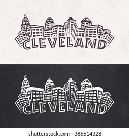 Cleveland Skyline silhouette. Day and night versions in black and white colors. Vector
