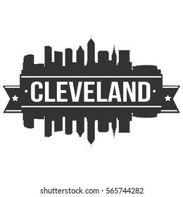 Cleveland Skyline Stamp Silhouette Vector City Design