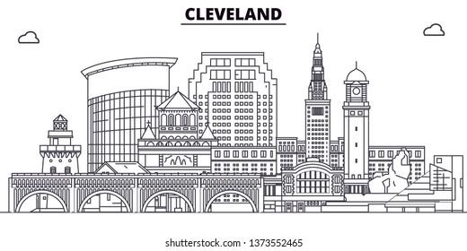 Cleveland , United States, outline travel skyline vector illustration.