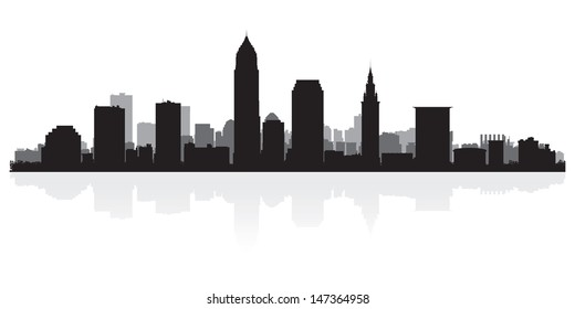 Cleveland USA city skyline silhouette vector illustration