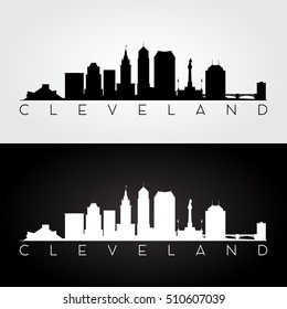 Cleveland USA skyline and landmarks silhouette, black and white design, vector illustration.