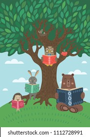 Clever animals reading books near tree. Owl, bear, rabbit and hedgehog. Children literature, studying, learning, education concept. Vector illustration.