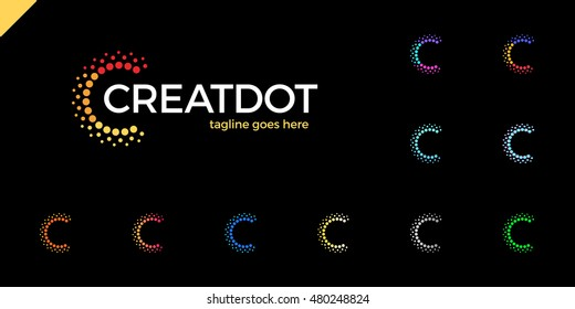 Clever, Creative, Dots, Point, Colorful, Letter C, Smart and Idea logo set. Letter C logotype. Orange, blue, green, gold, pink color