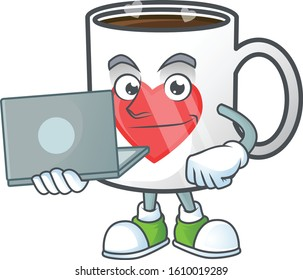 A clever cup of coffee with heart mascot character working with laptop